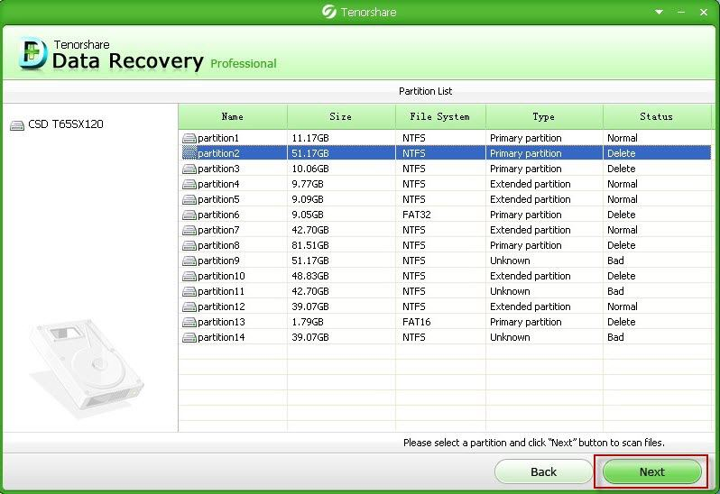 recover lost partition