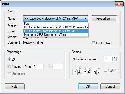 select printer name