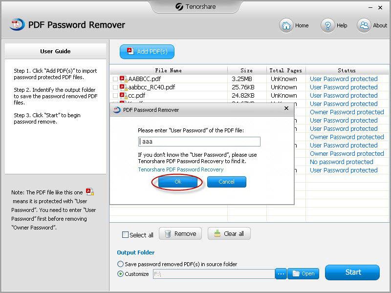 remove pdf user password