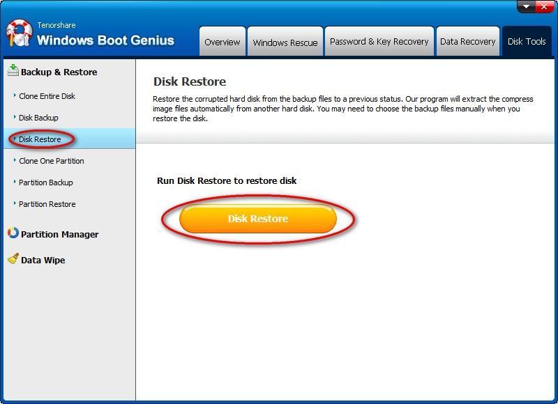 restore disk
