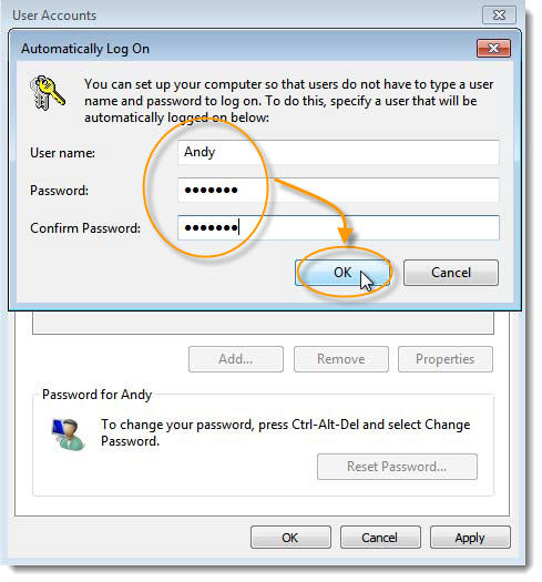 Automatically log on Windows 7
