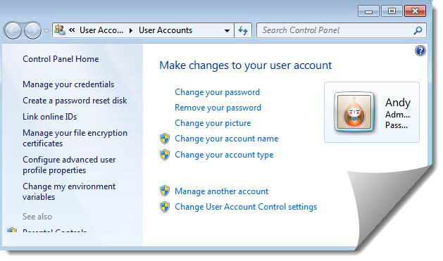 Make changes to windows 7 user account