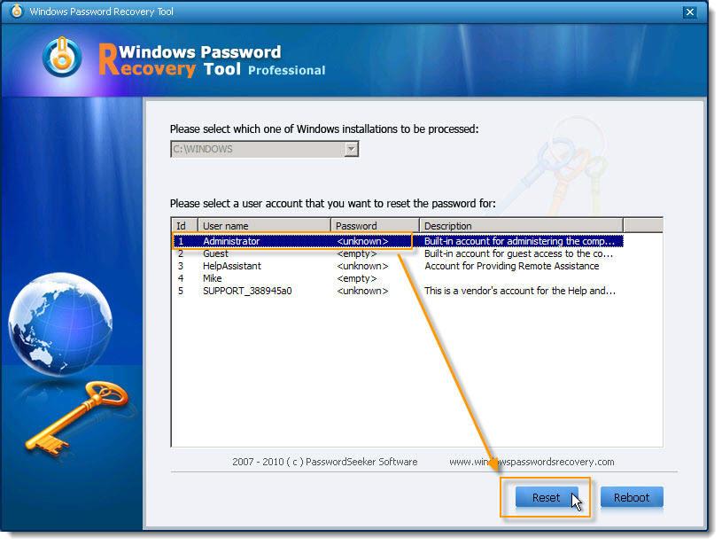 forgot password for windows xp pro