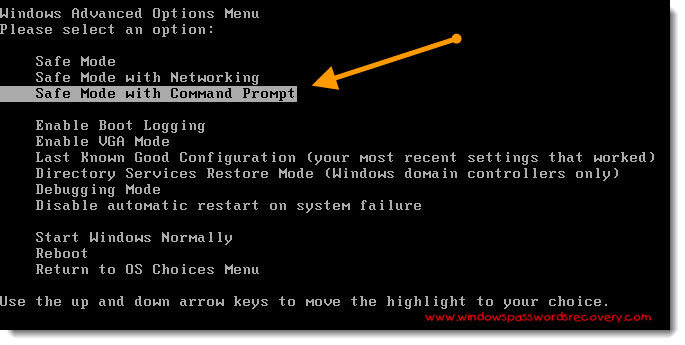 XP safe mode with command prompt