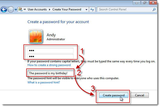 create windows 7 login and password