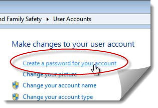 create a password for your windows7 account
