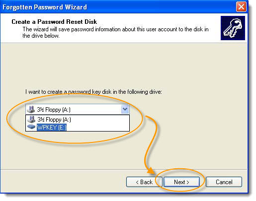 choose drive create xp password key disk