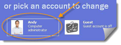 click user account icon