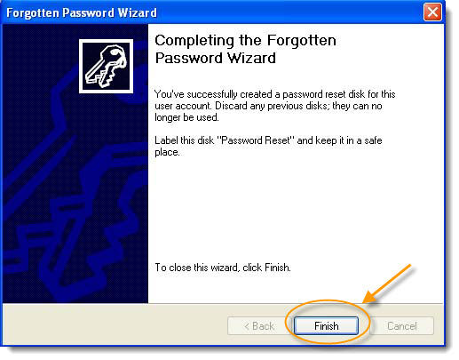 completing xp forgotten password wiziard