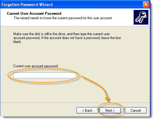 current user account password windows xp