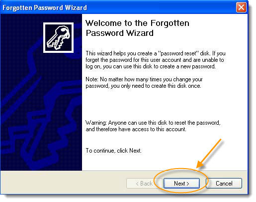 windows xp forgotten password wizard