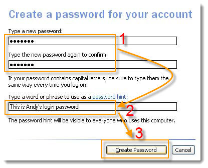 create a windows xp account password