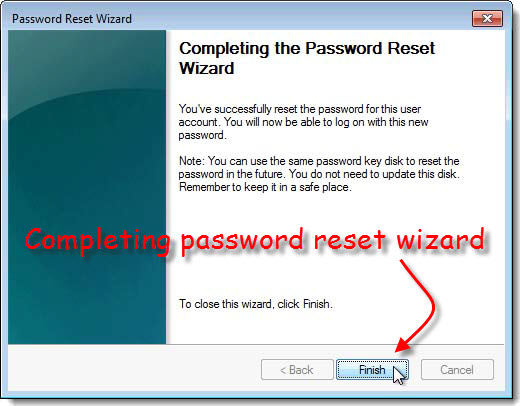 Completing the password wizard