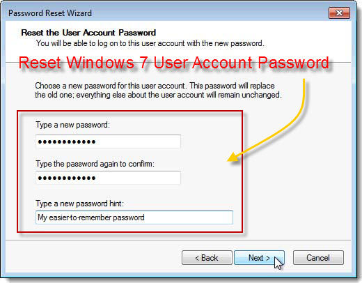 reset windows 7 user account password