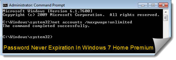 password never expiration in windows 7 home premium