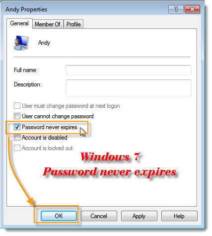 Password never expires