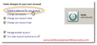 Create password for Vista