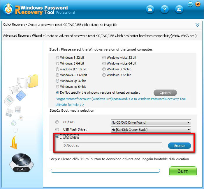how to use windows password buster standard