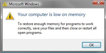 computer is low on memory