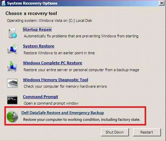 factory reset a laptop dell