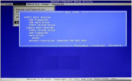 hp envy boot from usb