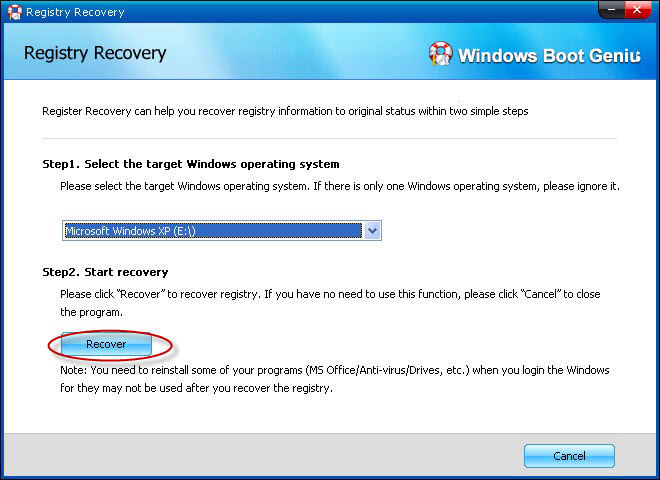 registry recovery