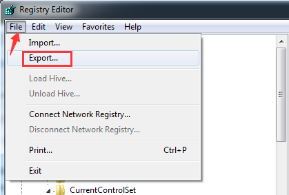 choose the registry key