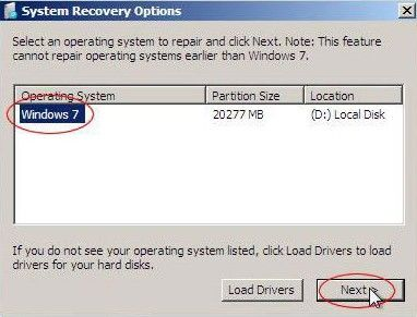 windows 7 upgrade gives error 'missing operating system'