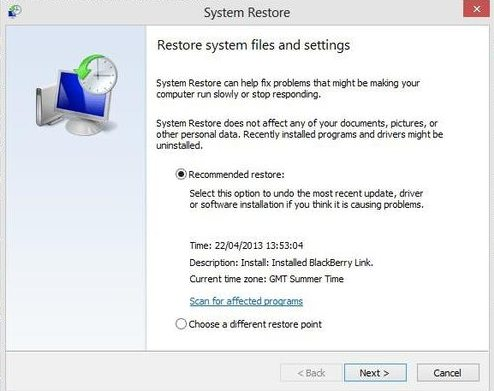 recover windows 7 computer with system restore
