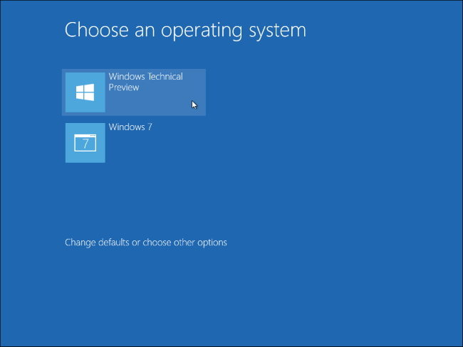 windows dual boot menu