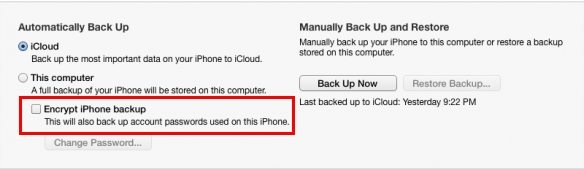 password protect your itunes backup file