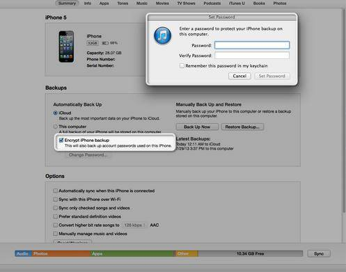 password protect your itunes backup