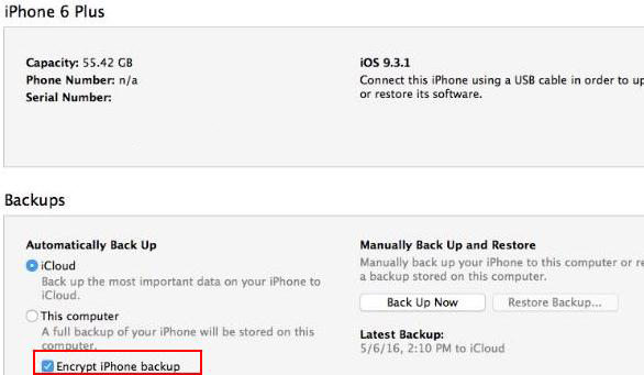how to uncheck encrypt iphone backup in itunes