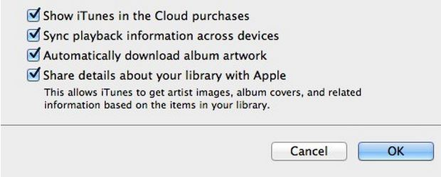 enable itunes in the cloud under itunes 11