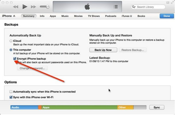 how to delete encrypted iphone backup