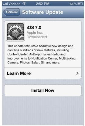 update iphone to ios 7