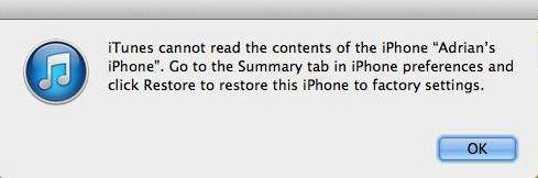itunes cannot read contents of the iphone