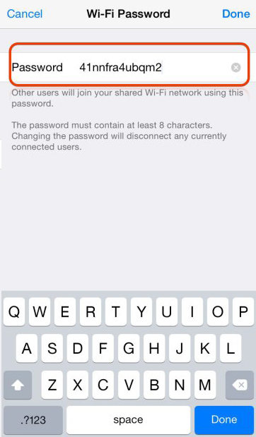 new password for iphone hotspot