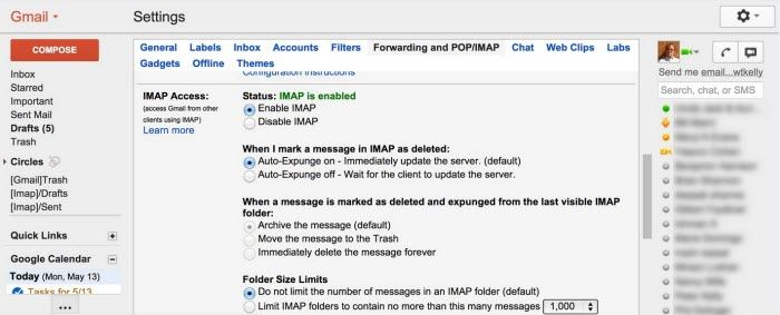 setup imap in gmail account