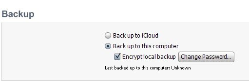 change ipod backup password
