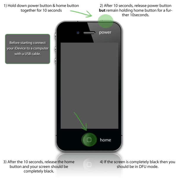how to enter iphone DFU mode