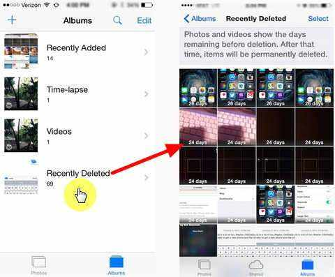 recovering recently deleted photos from iphone