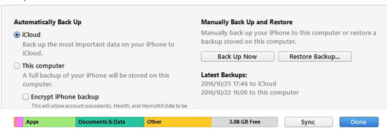 restore backup in iTunes