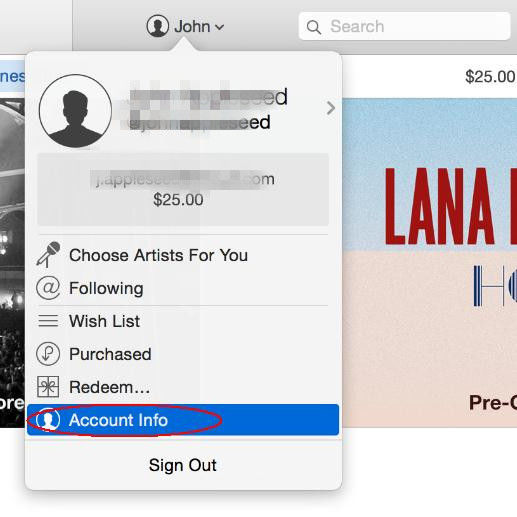 account info in itunes
