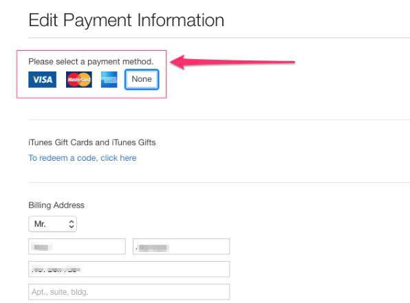 add credit card details on itunes