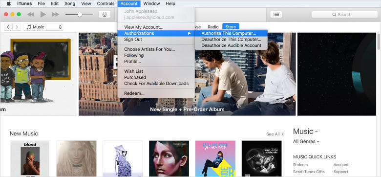 authorize options on itunes