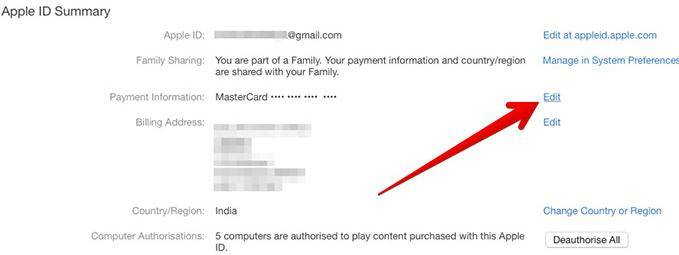 edit credit card details on itunes