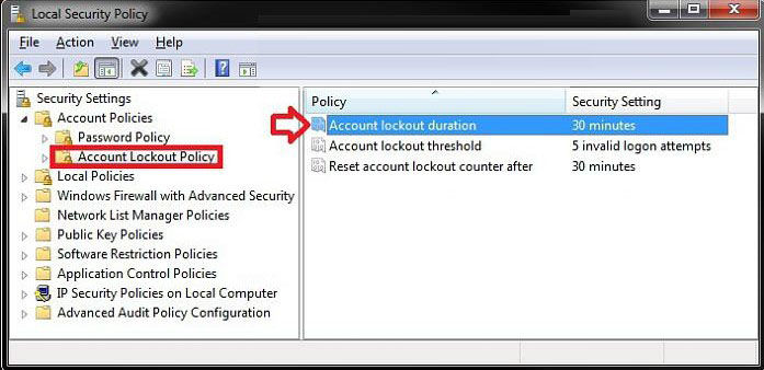 set account lockout duration for locked out user accounts
