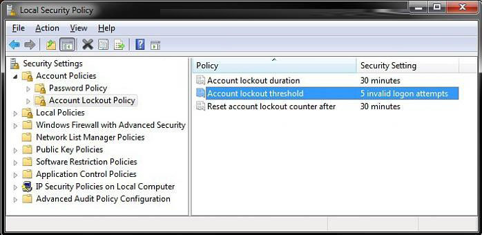 set account lockout threshold for invalid logon in windows 8