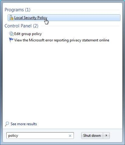 set an audit policy for an account lockout in windows 7